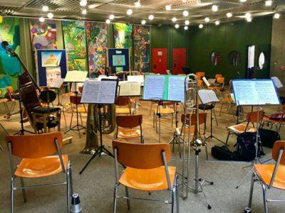 Orchesterprobe in der Aula